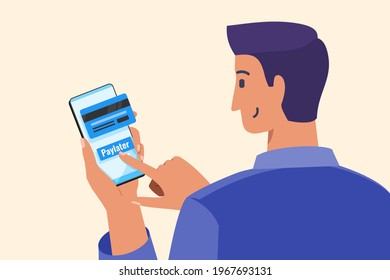 Young Man Using Paylater or Pay Later Feature To Do a Short Term Loan for Purchasing an Item Online in Mobile Phone Apps. Finance and Payment Flat Vector Illustration.