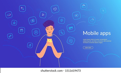Young man using smartphone for chatting, social media networks, banking and smart mobile apps. Gradient line vector illustration of user interface, user experience and mobile apps usage by people