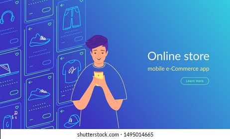 Young man using smartphone for ecommerce, shopping and enjoying online services, mobile apps and networks. Gradient line vector illustration of user experience, user experience and mobile apps usage