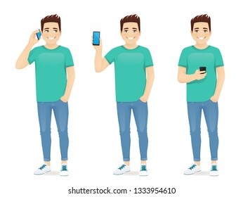 Young man using smartphone isolated vector illustration. Talking on phone, showing blank screen, typing text message
