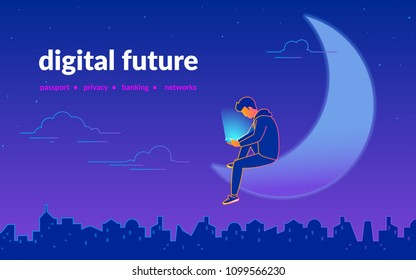 Young man using smartphone sitting on half moon in dark urban midnight panoramic view. Addicted to smartphone guy enjoys his gadget. Gradient line vector illustration of mobile services and apps usage