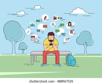 Young man is usung his smartphone outdoors. Flat outlined illustration of sending a message via chat to someone via chat with social media signs such as email, chat bubbles, blog, news around him