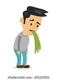 Young man vomiting. Vector flat cartoon character illustration icon.Isolated on white background. Vomit, food poisoning, alcohol poisoning,nausea concept