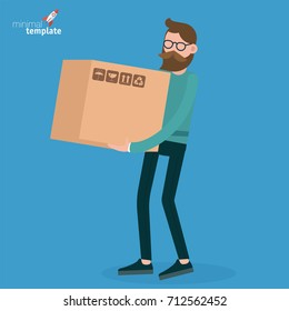 Young man walking with retail box. Flat design vector people different characters, styles and professions,  diverse acting poses shopping collection.