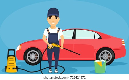 A young man is washing cars. The guy holding the apparatus for washing cars. The guy in the uniform. In flat style on blue background. Cartoon.