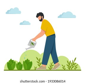 Young man watering plants in the garden. Gardening or horticulture concept. Flat vector illustration.