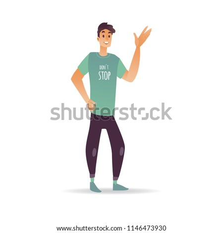Young man waving hand cheerful smiling stock vector royalty free young man waving hand cheerful smiling boy greeting or saying goodbye isolated on white background m4hsunfo