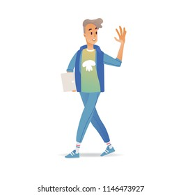 Young man waving hand while walking - cheerful smiling boy with laptop greeting or saying goodbye isolated on white background. Cartoon male character with welcoming gesture in vector illustration.