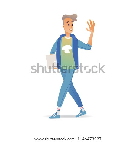 Young man waving hand while walking stock vector royalty free young man waving hand while walking cheerful smiling boy with laptop greeting or saying goodbye m4hsunfo