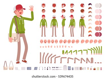 Young man wearing hoodie character creation set. Full length, different views, emotions, gestures, isolated against white background. Build your own design. Cartoon flat-style infographic illustration