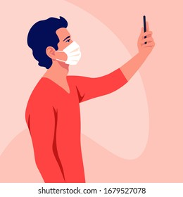 A young man wears medical mask takes a selfie and holds smartphone in his hand. Coronavirus. A blogger. Epidemic and pandemic. Vector flat illustration