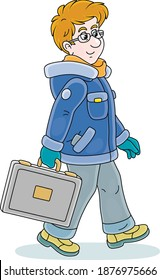 Young man in winter clothes holding a briefcase and walking with vigorous strides in a good mood, vector cartoon illustration on a white background
