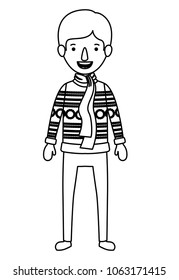 young man with winter clothes and scarf