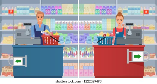 Young man and woman cashier at the checkout in supermarket. Vector female and male cashier working at the cash register.