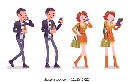 Young man and woman. Caucasian millennial boy and attractive red-haired girl with phone, interacting on social media, wearing city clothing and accessories. Vector flat style cartoon illustration