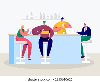 Young Man and Woman Characters Drinking in Bar. Businessman Work on Laptop in Pub. Friends Hanging in Cafe Drinking Alcohol Cocktail. Flat Cartoon Vector Illustration