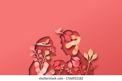 Young man woman couple looking at each other. People in love silhouette with spring nature leaves decoration and birds. Relationship psychology, healthy marriage or new romance concept.
