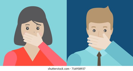 Young man and woman covering their mouth by hand, vector illustration. Human emotion face expression
