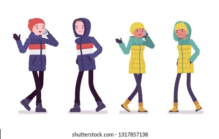 Young man and woman in down jacket walking, phone talking, wearing soft warm winter clothes, classic snow boots, hat and hood. Vector flat style cartoon illustration isolated on white background