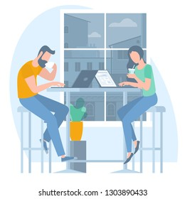 Young man woman drinking coffee and working remotely ian coffeeshop. Flat design vector illustration, ready to animation vector concept for web site, presentation, mobile app.