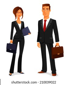 young man and woman in elegant business suit, with briefcase