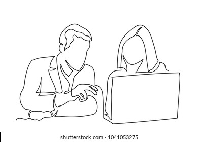 Young man and young woman in front of computer. the guy shows the girl on the screen. One line drawing isolated vector object by hand on a white background.
