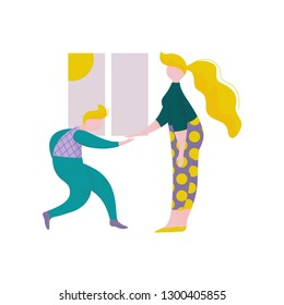 Young Man and Woman Giving Five to Each Other in Front of Window, Human Interaction, Friendship, Teamwork, Cooperation Vector Illustration