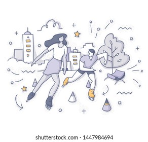 Young man and woman happy friends enjoying rollerblading outdoors on urban streets or city park. Vector doodle concept of active lifestyle, summer vacations and friendship