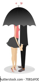 Young man and woman holding hands and staying under umbrella.