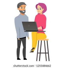 Young Man and Woman Holding Laptop. Hipster Freelancer Concept Working in Cafe or Co-working Sitting on Bar Stool. Flat Cartoon Vector Illustration