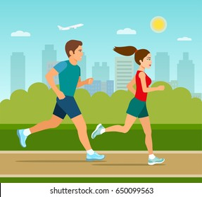 Young man and woman jogging in the park. Vector flat illustration