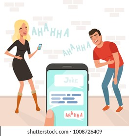 Young man and woman loudly laughing after hearing funny joke. Someone holding smartphone in hand. Cartoon people characters. Brick wall on background. Flat vector