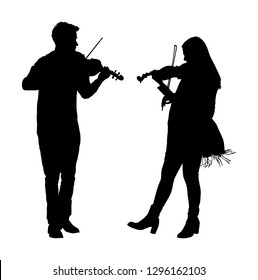Young man and woman playing violin in duet vector silhouette isolated on white. Classic music performer concert. Musician artist amusement public. Virtuoso on violin. Girl plays string instrument.
