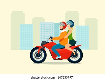Young man and woman ride a motorcycle. Vector flat style illustration.