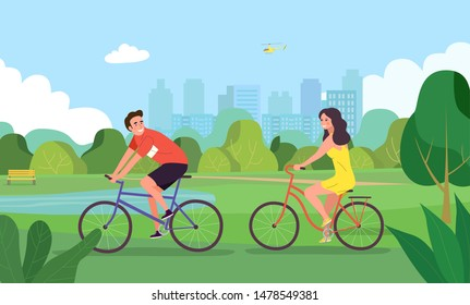 Young man and woman riding on bicycles in the park. Flat vector illustration