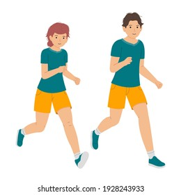 Young man and woman running together, young couple jogging vector illustration