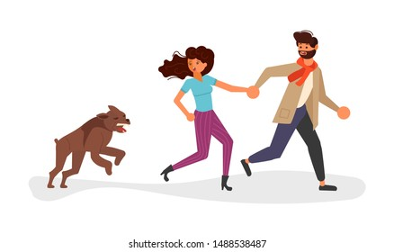 A young man and woman runs from the dog. Huge homeless aggressive mongrel attacks people. Flat Art Vector illustration