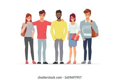 Junge Männer und Frauen sind Gelehrte an einer Hochschule mit Freundschaft. Backpacker Tourismus zu reisen.