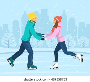 Young Man and Woman Skating on Ice rink . Cityscape landscape background scene. Winter Fun Sport Activities Vector Illustration