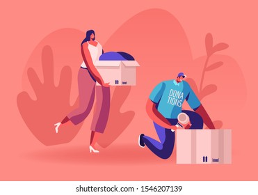 Young Man and Woman Teamworking Caring Altruistic Volunteers Collecting Clothes to Cardboard Boxes for Donation to Poor Homeless People in Complicated Life Situation. Cartoon Flat Vector Illustration
