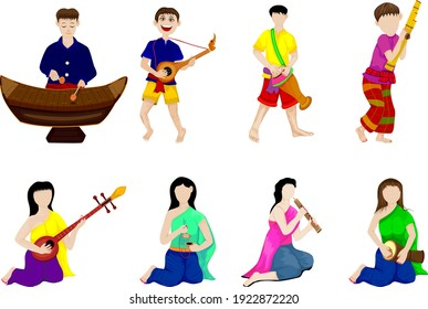young man and woman with thai instrument vector design