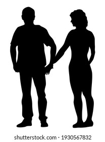 Young man and woman walking on street. Isolated silhouette on a white background