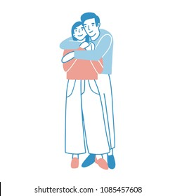 Young man and woman warmly hugging or cuddling. Boy standing behind girl and embracing her. Cute male and female cartoon characters in love. Romantic couple on date. Colored vector illustration