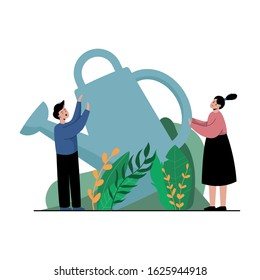 Young man and woman watering a garden or vegetable garden. Concept People and giant watering can. The couple is gardening, hobbies. Leaves, bushes, plants. Cartoon flat illustration. Isolated