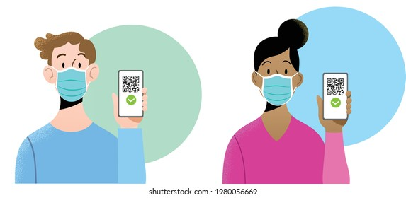 Young man and woman wearing blue surgical masks holding smartphone with QR code on screen. Concept of digital sanitary pass, European Green Pass, digital vaccine passport. Certificate of vaccination.
