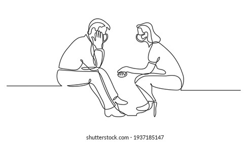 young man and woman wearing face masks talking having conversation