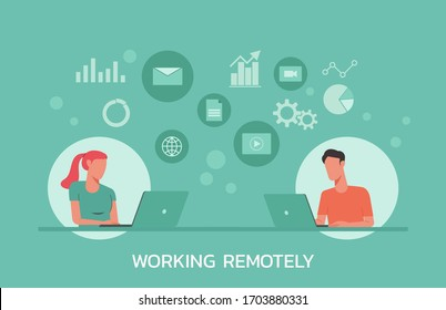 young man and woman working from home on laptops computers, co-working space, working remotely concept, flat vector illustration