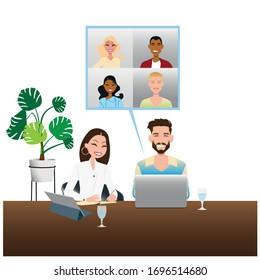 jeune homme et femme travaillant sur un ordinateur portable à la maison, illustration de concept. Des pigistes avec ordinateur dans leur chambre. image vectorielle création à plat.