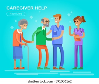 Young man and women caregiwer, helping an old lady and old man. Elder people care and nursing. Vector detailed character flat design