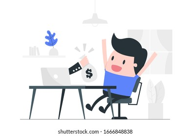 Young man work at home. Online business. Business Concept Illustration.